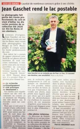 article-dauphine-libere-jean-gaschet-photographe-cartes-postales-aix-les-bains-savoie